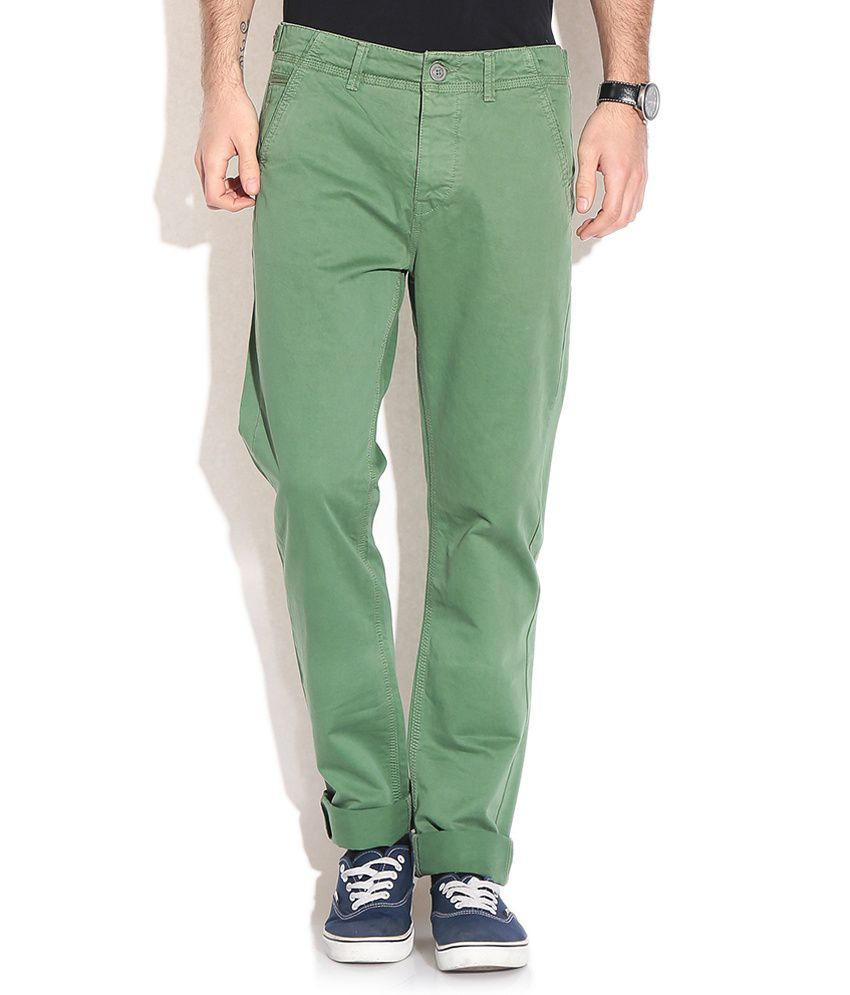 Being Human Green Slim Casuals Trousers & Chinos