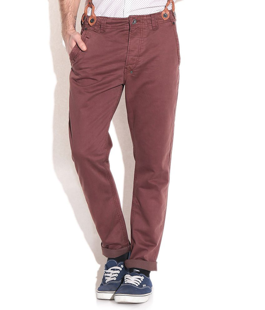 Being Human Maroon Regular Fit Casual Trousers