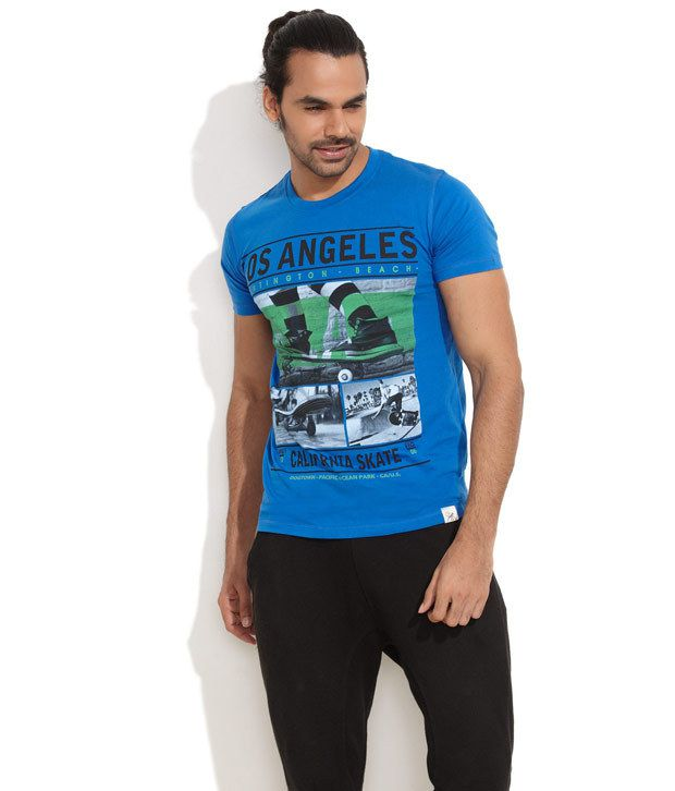 Blue Monkey Medium Blue La Printed T-Shirt