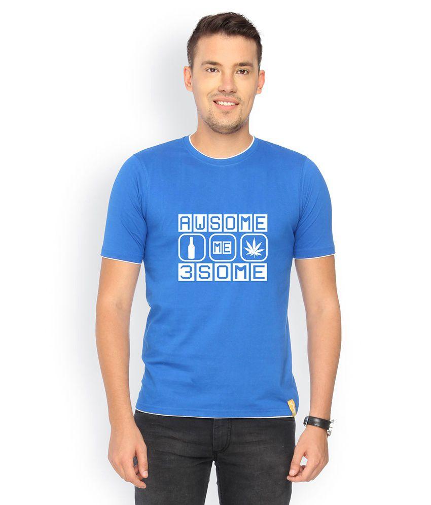 Campus Sutra Blue Cotton T-shirt