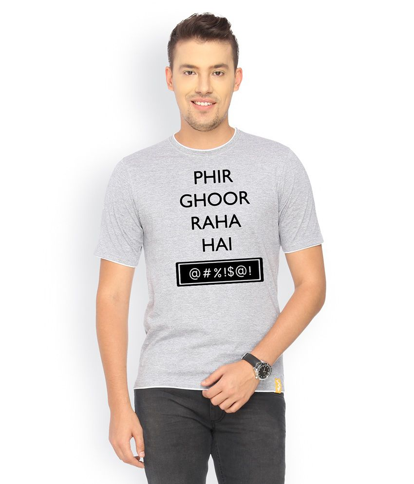 Campus Sutra Gray Cotton T-shirt