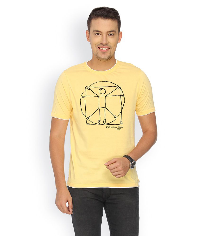 Campus Sutra Yellow Cotton T-shirt