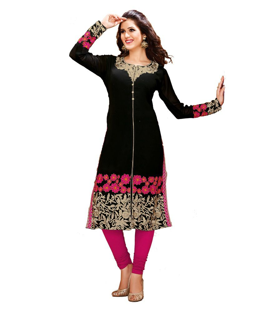 Ishin Prints Black Embroidered Faux Georgette Kurti