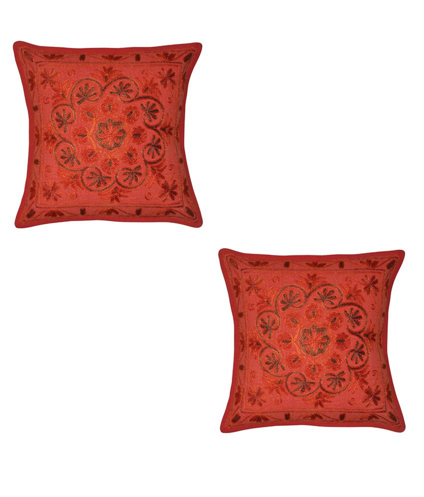 Lalhaveli Embroidery Cotton Cushion Cover Set Of 1