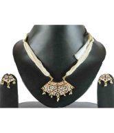 Muunaayan's White Tarcel Gold Plated Rajasthani Jewellery Set