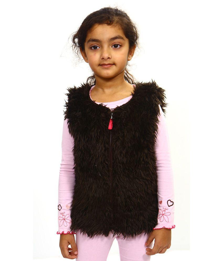 Bio Kid Brown Cotton Sleeveless Fleece Jackets