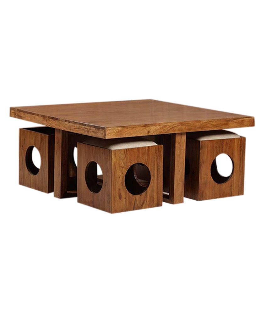 Solid Wood Table With 4 Stools Buy