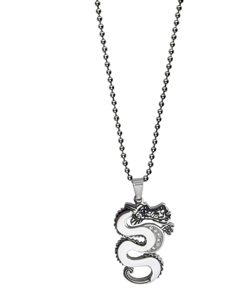Get Fatang Diamond Studded Chinese Dragon Stainless Steel Locket With Chain