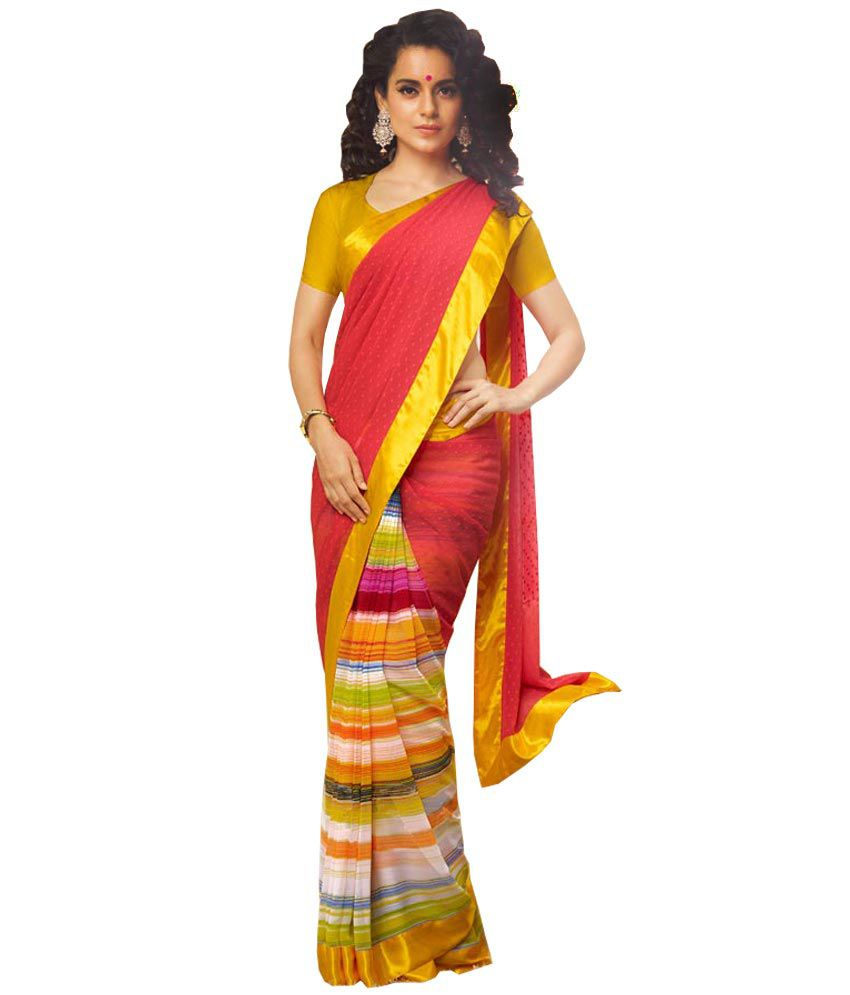 Kalazone Red Yellow Color, Silk Georgette Fabric, Embroidered Printed Party Wear Saree  available at snapdeal for Rs.2444