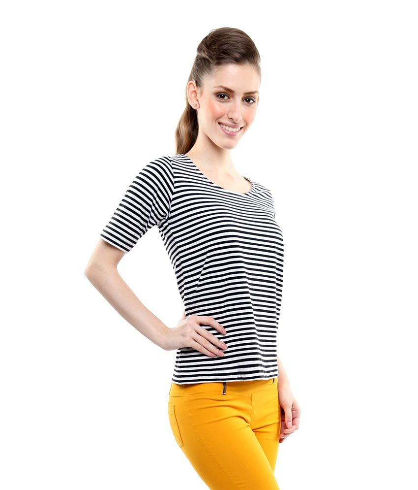 Miss Chase Black Cotton Striped Tops For Women Cap Sleeve Round Neck Casual Wear