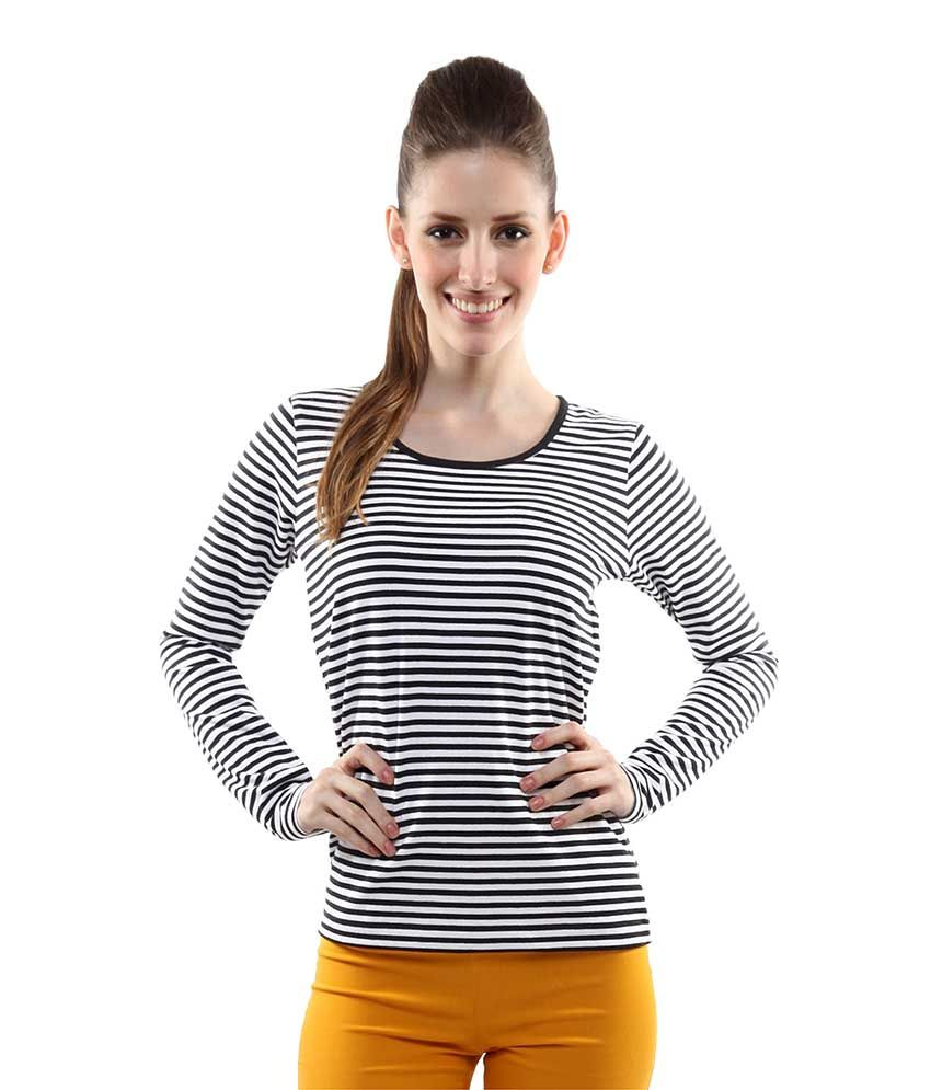 Miss Chase Black Cotton Striped Tops For Women Full Sleeve Round Neck Casual Wear