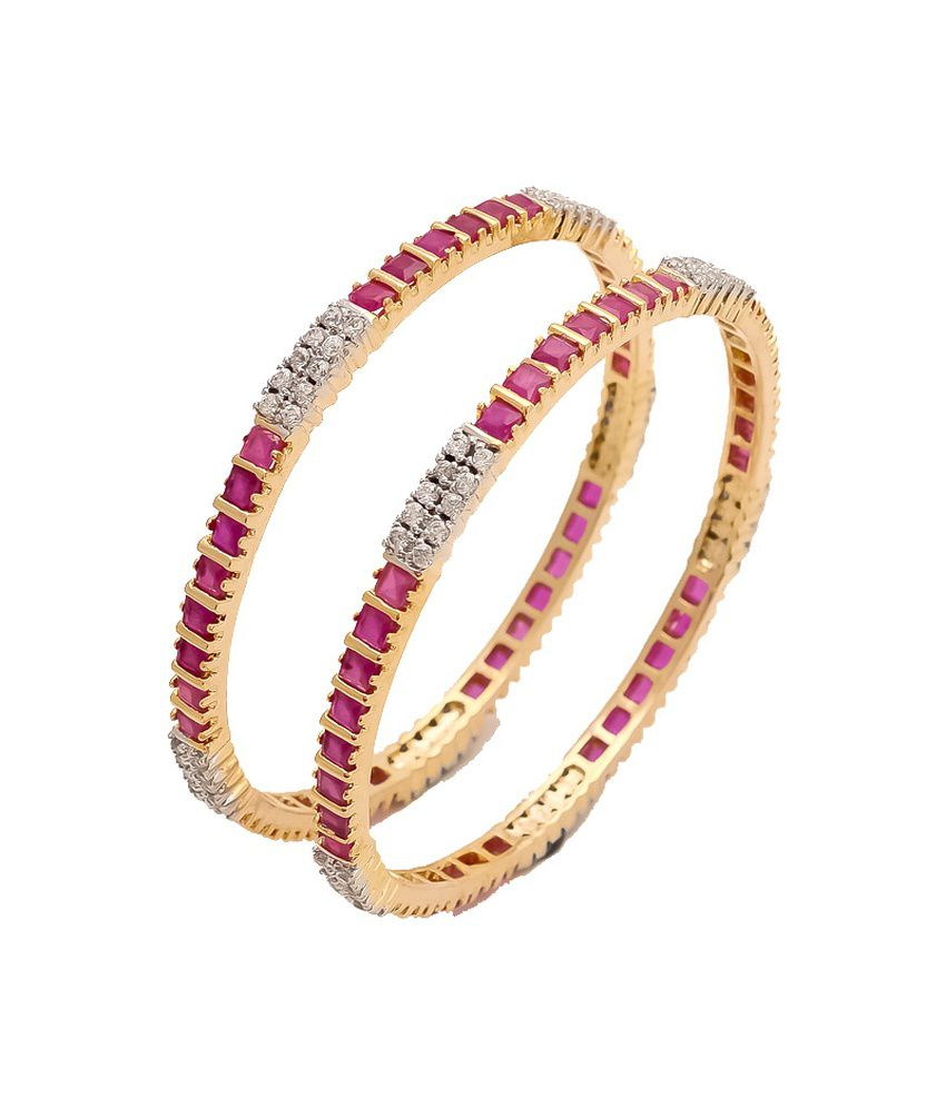 Sagun Gorgeous Look American Diamond Bangles With Ruby Stones