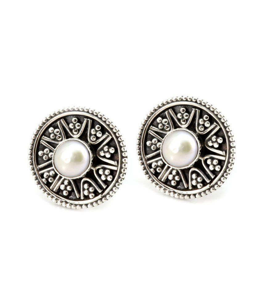 Yugshajewels White Pearl Stud Earring