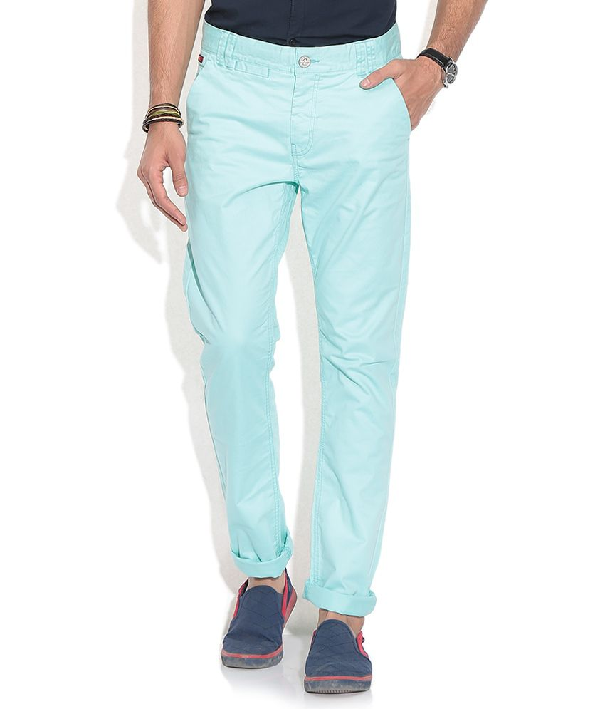 Being Human Green Regular Formals Trousers & Chinos