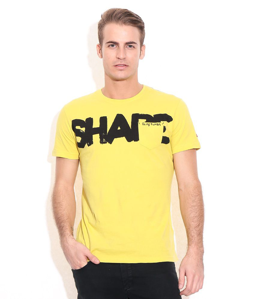 Being Human Yellow Cotton T-Shirt