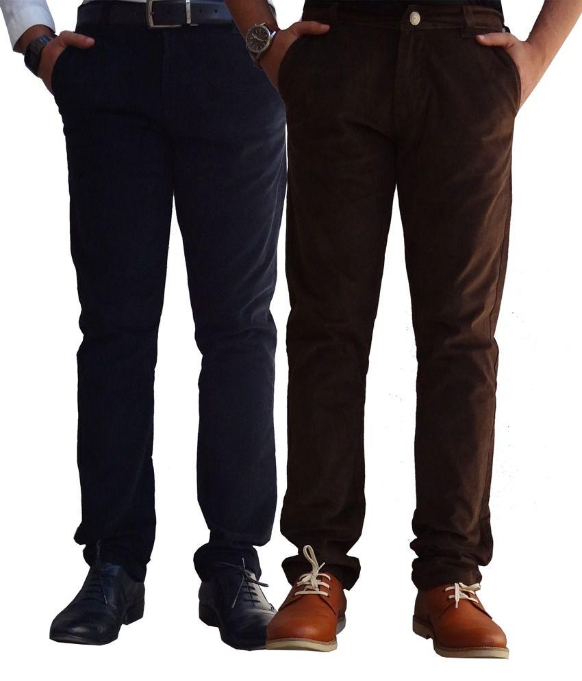 Ben Carter Men's Black & Brown Corduroy Pants-combo Of 2 Shades