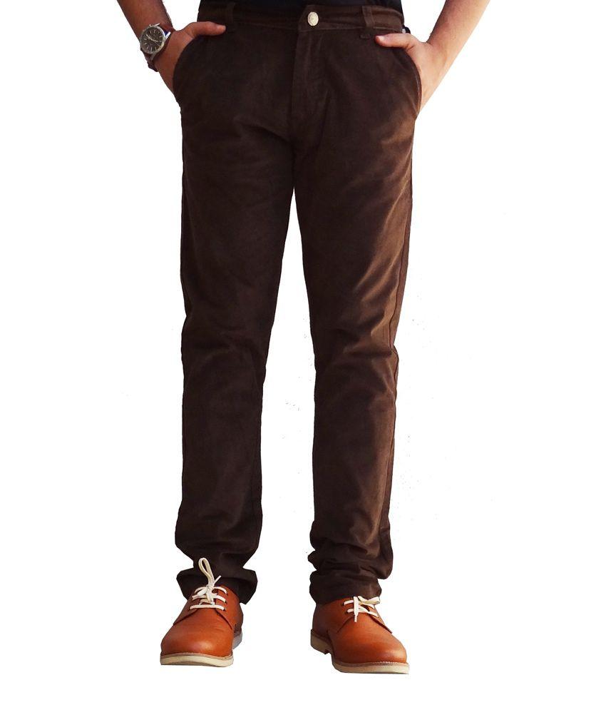 Ben Carter Men's Classy Brown Cotton Corduroy Pants