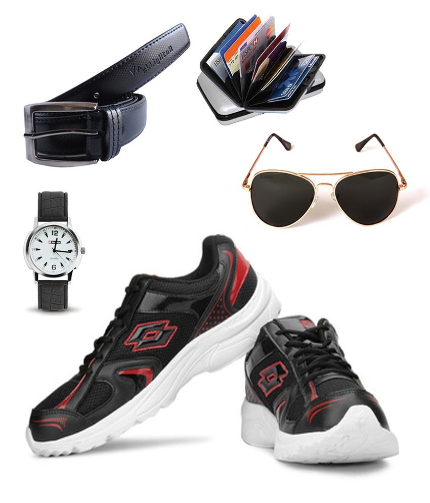 Lotto Black Synthetic Leather Sport Shoes With Combo Of Watch, Sunglasses,belt, Card Holder