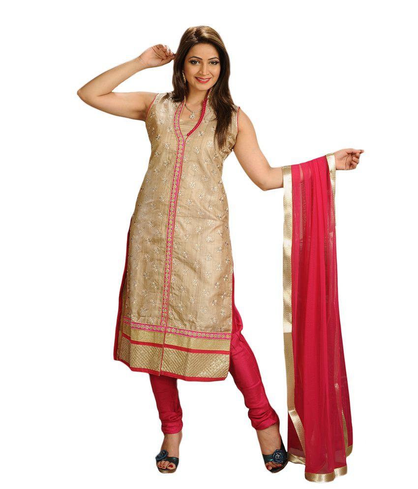 Salwar Studio Fawn & Pink Tussar Designer Salwar Suit