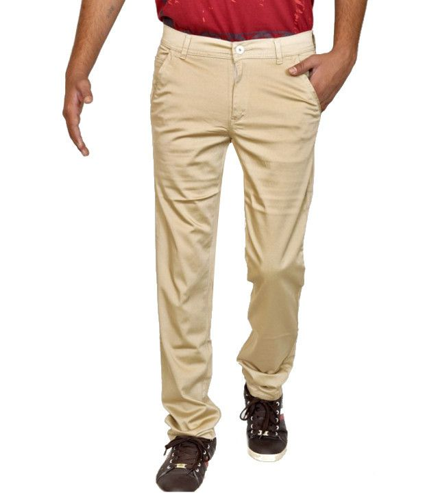 Smartshop123 Casual Beige Satin Lycra Cotton Slim Fit Chinos