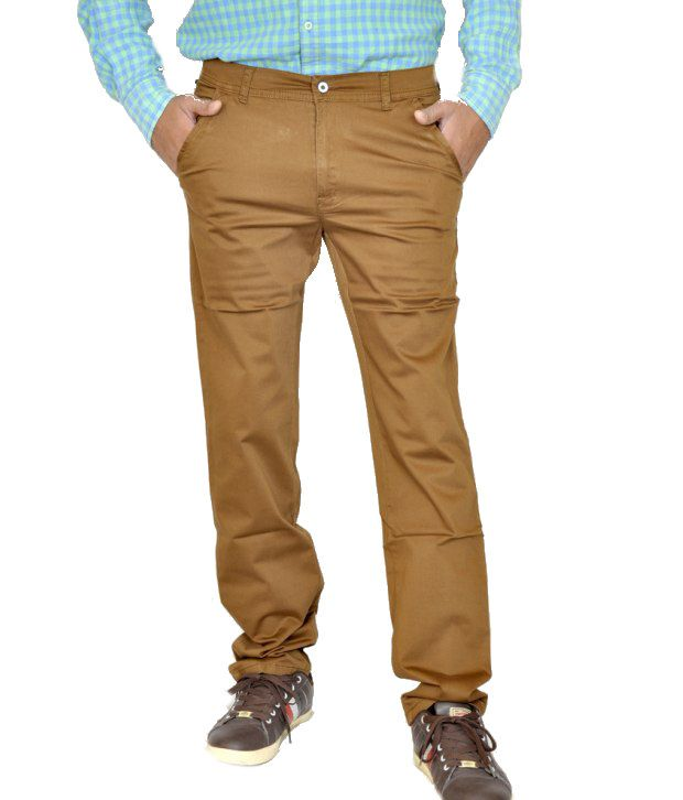Smartshop123 Casual Brown Twill Lycra Cotton Slim Fit Chinos