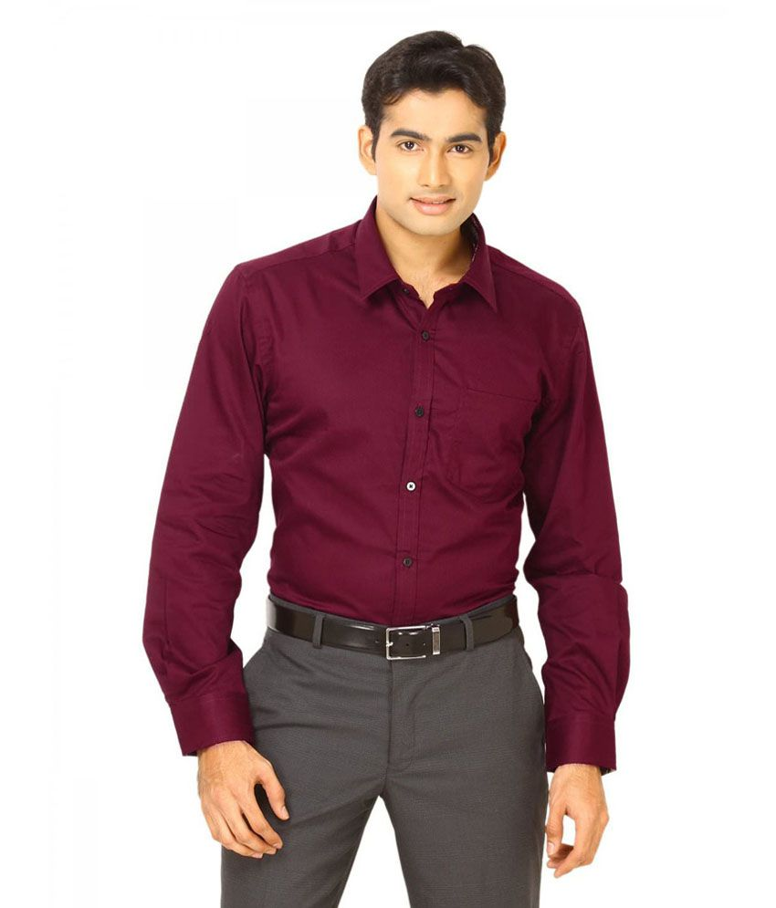 Unique For Men Maroon Cotton Blend Slim Fit Casual Shirt - Buy ...
