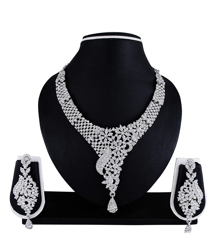 Atasi International Silver Bridal Nysa Necklace Set