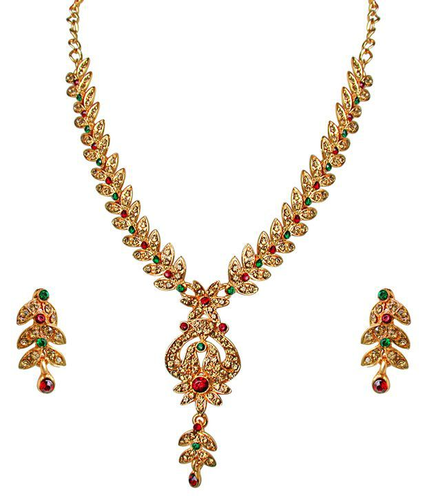 Surat Diamonds Traditional Red, Green & Yellow Coloured Stone Floral Shaped Necklace & Earring Set