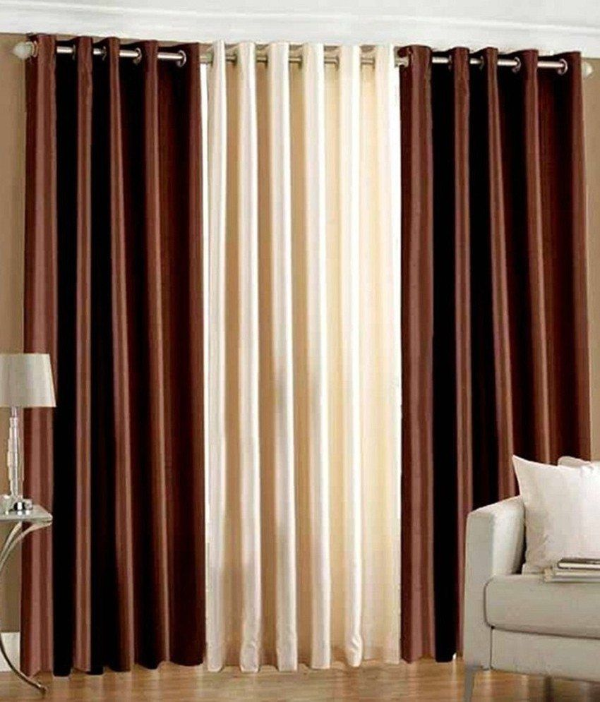 White Wave Set Of 3 Door Eyelet Curtains Solid Multi Color
