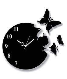 Panache Black Mdf Wood Butterfly Wall Clock