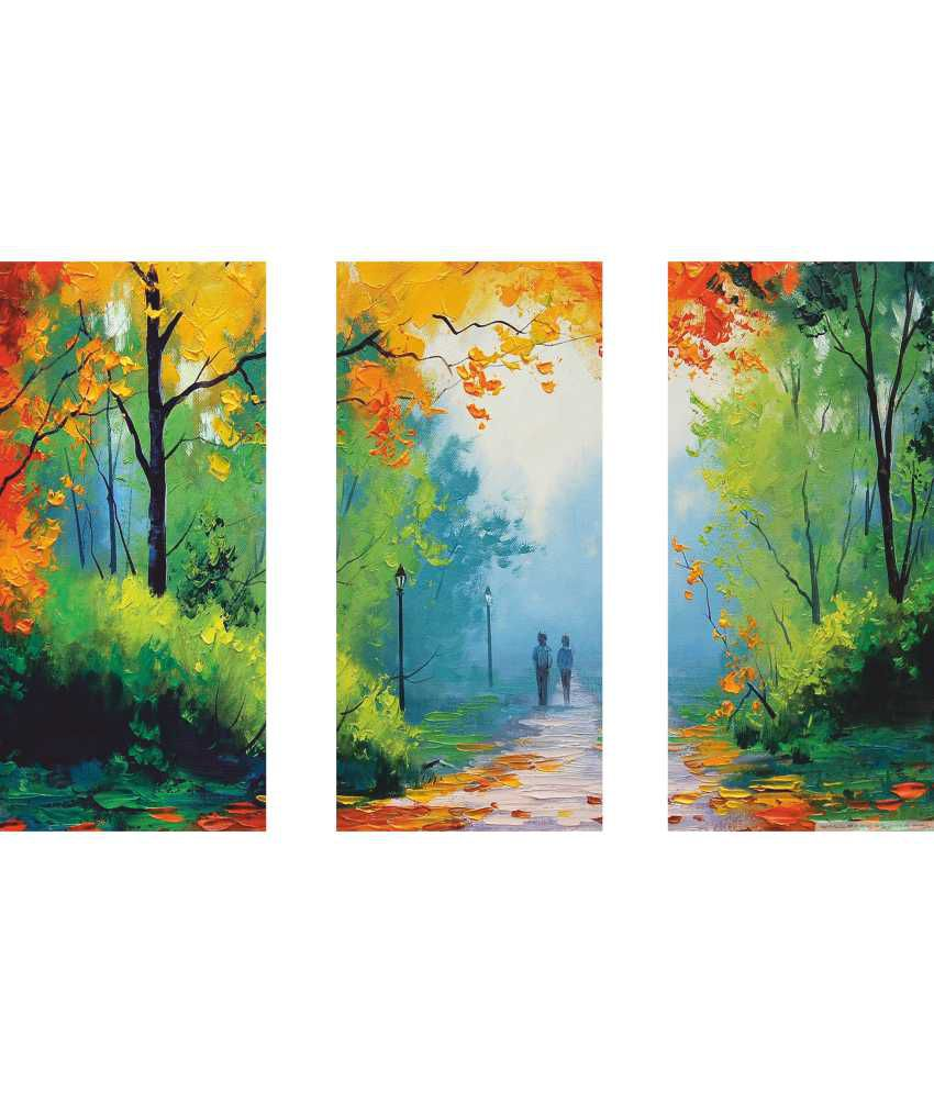 Anwesha's Orange Green Wall Painting 3 Frame Split Effect Digitally Printed Canvas Wall Painting