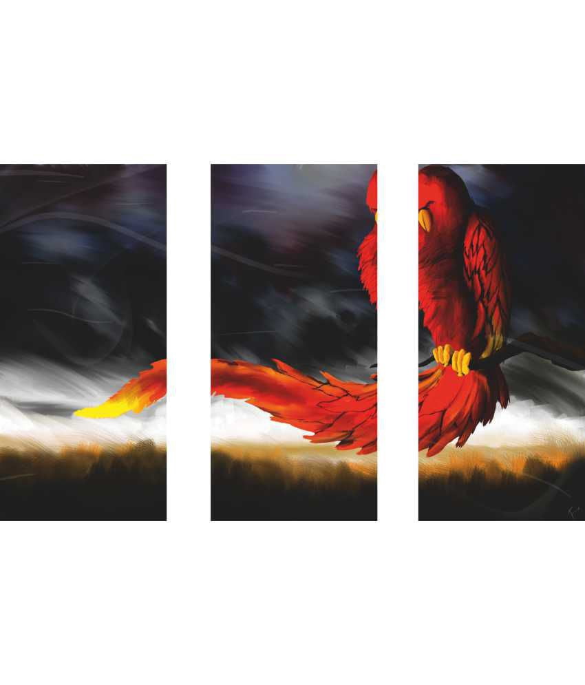 Anwesha's Parrot 3 Frame Split Effect Digitally Printed Canvas Wall Painting