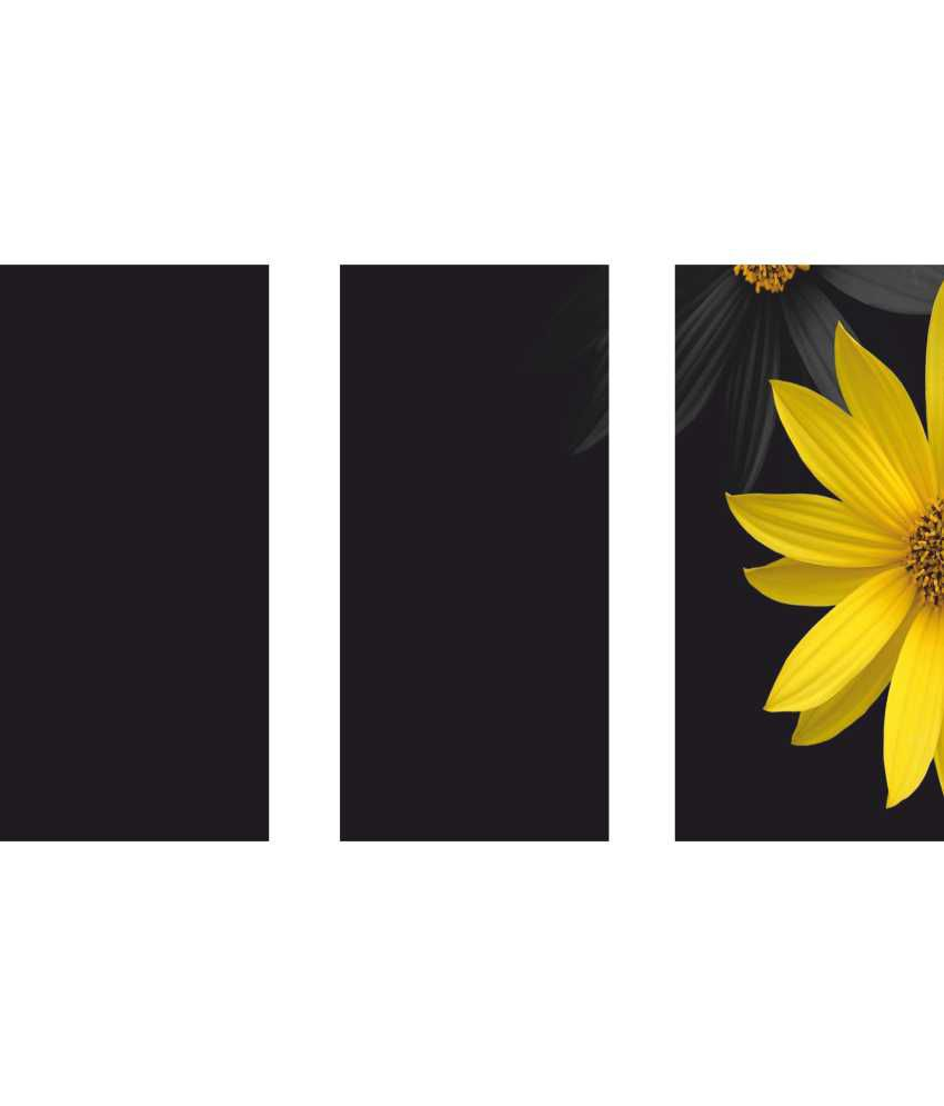Anwesha's Sunflower 3 Frame Split Effect Digitally Printed Canvas Wall Painting