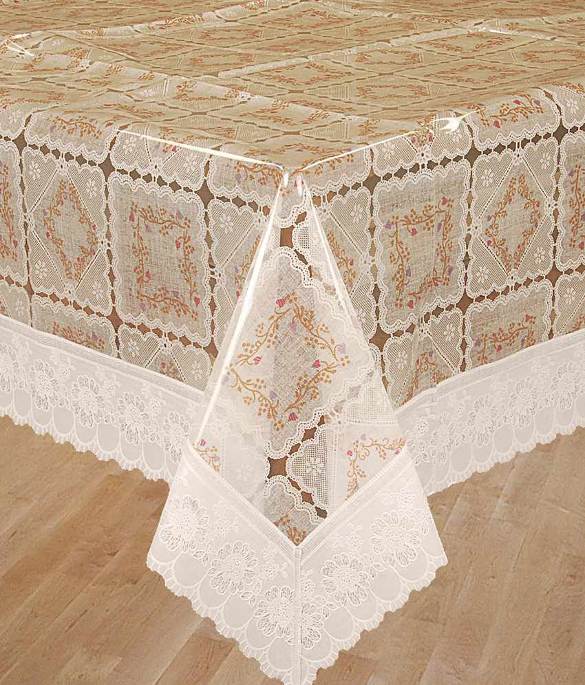 Bianca White And Orange Printed Pvc Table Covers