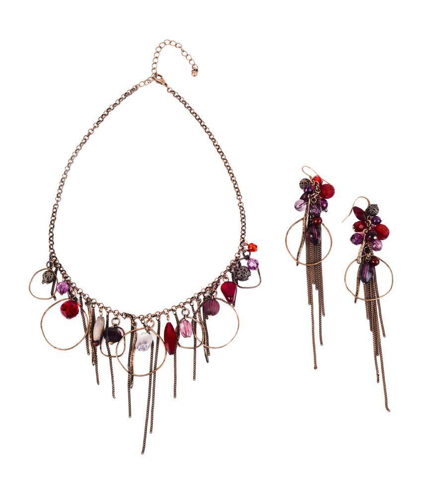 Ajara Antique Brass Necklace Set with Stones