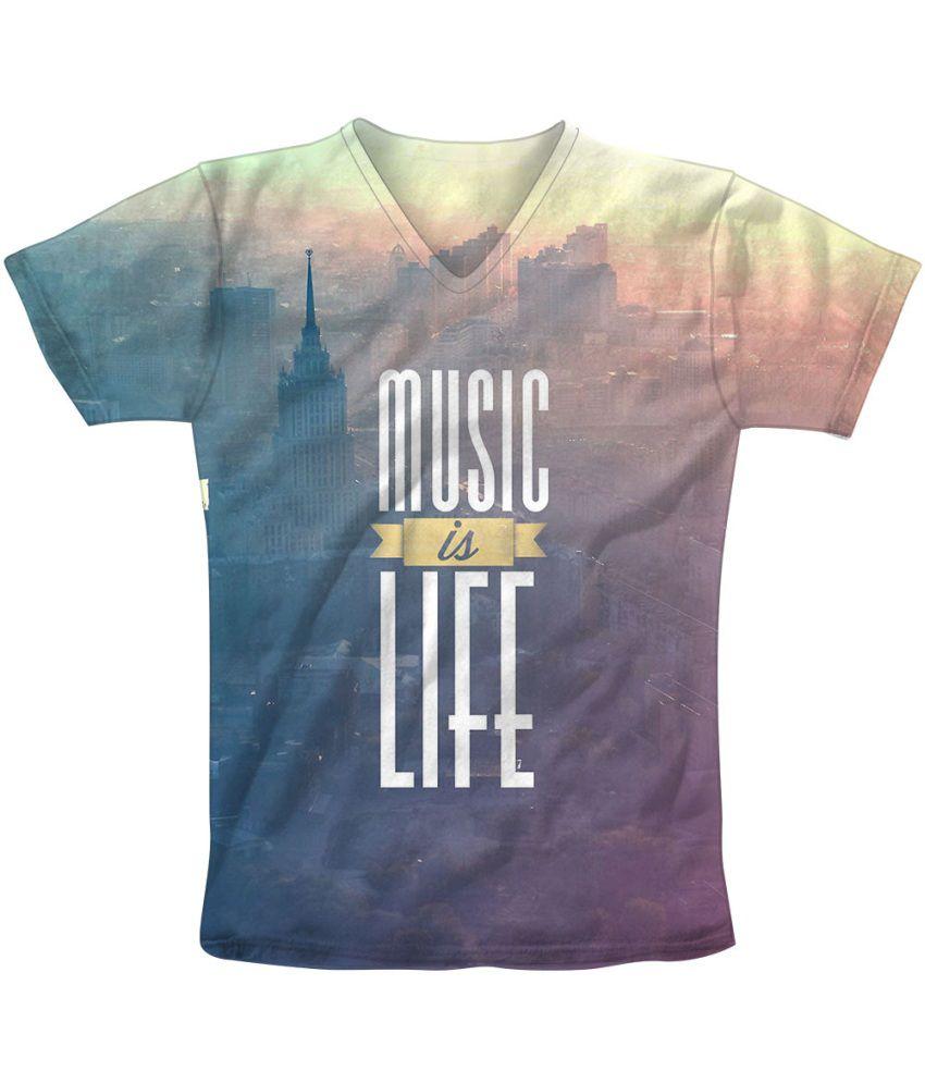 Freecultr Express Blue Cotton Blend T-shirt
