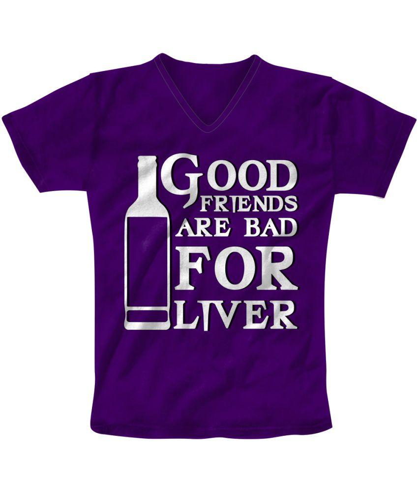 Freecultr Express Purple Cotton Blend T-shirt