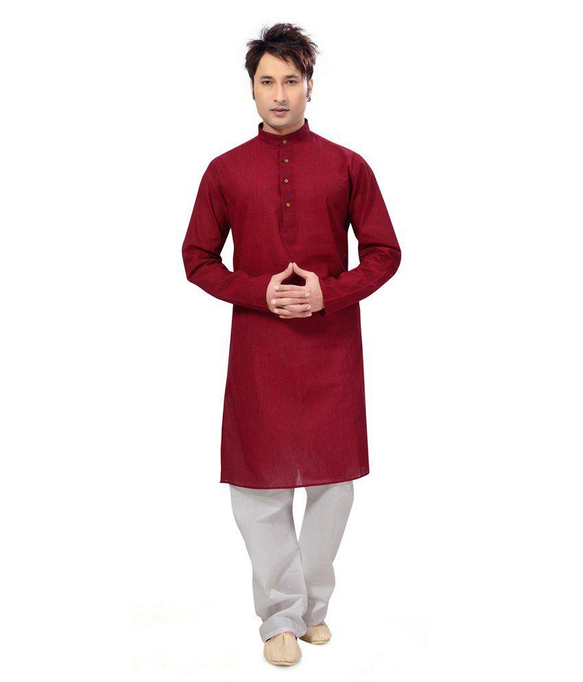 Ishin Prints Cotton Red Kurta White Pajama