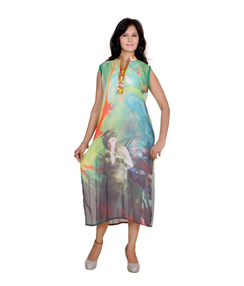 Jazzup Green Printed Faux Georgette V-neck Kurti
