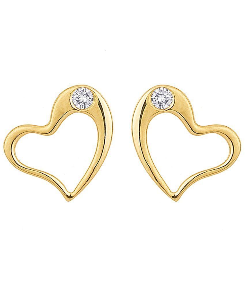 Voylla Hallmarked 18k Gold Heart Shaped Stud Earrings
