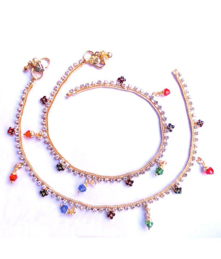 Single Line Beads: Aksha Single Line Stones With Multicolor Beads Golden