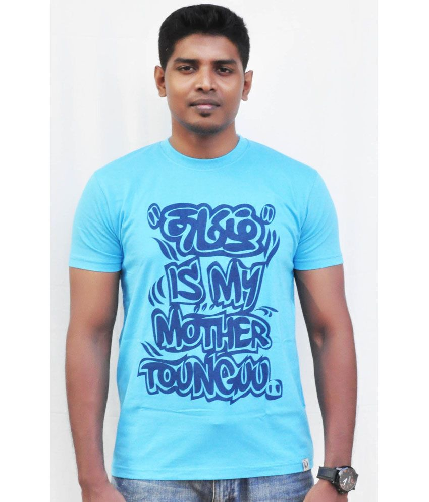 Fotachu Tamil Mother Tongue Blue Round Neck Cotton Printed T-shirt