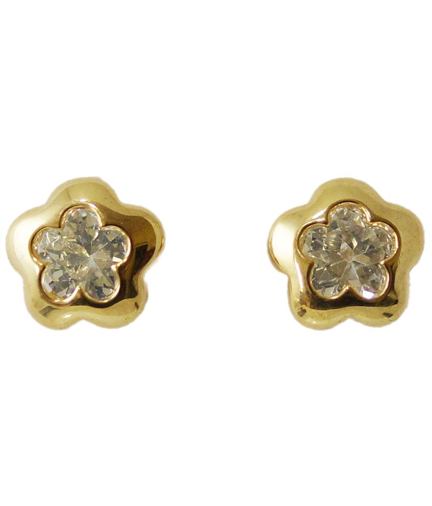 Golden Peacock Gold Toned Cz Star Shaped Stud Earrings