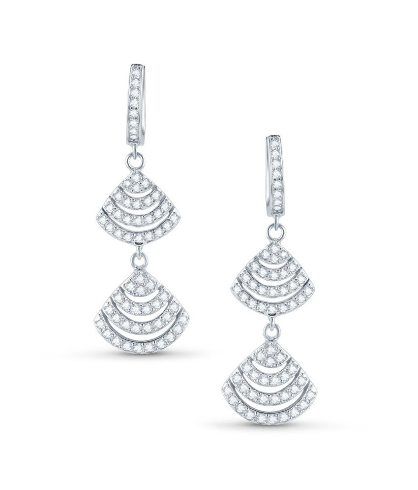 Tvesha Traditional Pair Of Earrings Set In 925 Silver With Cubic Zirconia