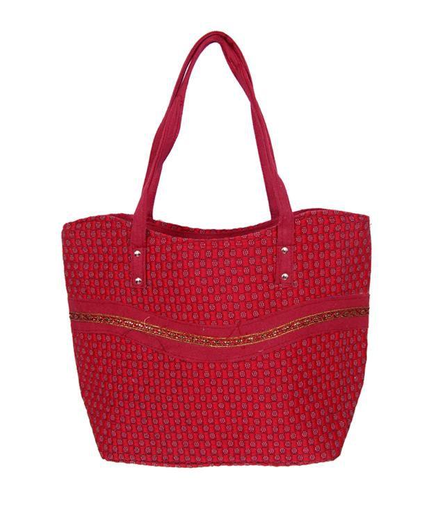 Womaniya Red Handcrafted Shoulder Bag