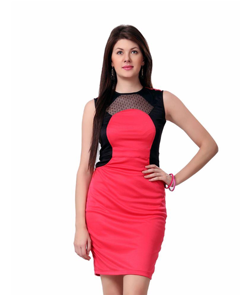 f67c3265472d Eavan Pink Black Bodycon Dress - Buy Eavan Pink Black Bodycon Dress Online  at Best Prices in India on Snapdeal