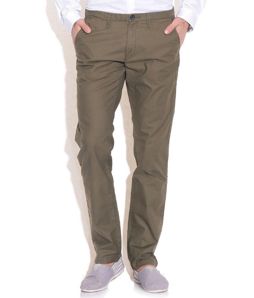 Jack & Jones Green Regular Formals Trousers & Chinos