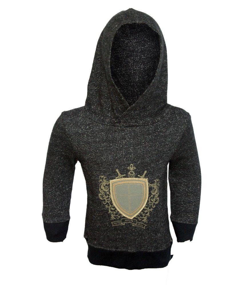 Mijn Full Sleeves D.Gray Melange Color Embroidered Hoodi Jacket For Kids