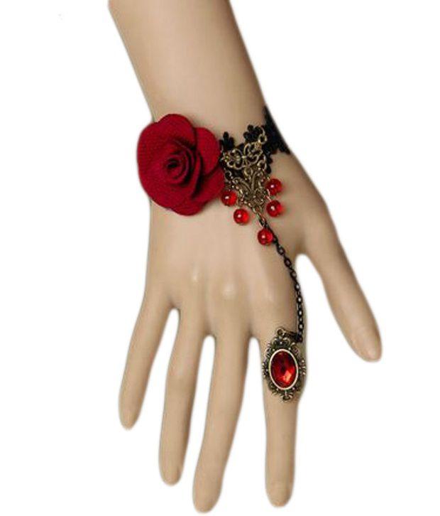 108eeb9e24 Muunaayan's Red Rose Stone Studded Finger Ring Bracelet: Buy Muunaayan's  Red Rose Stone Studded Finger Ring Bracelet Online in India on Snapdeal
