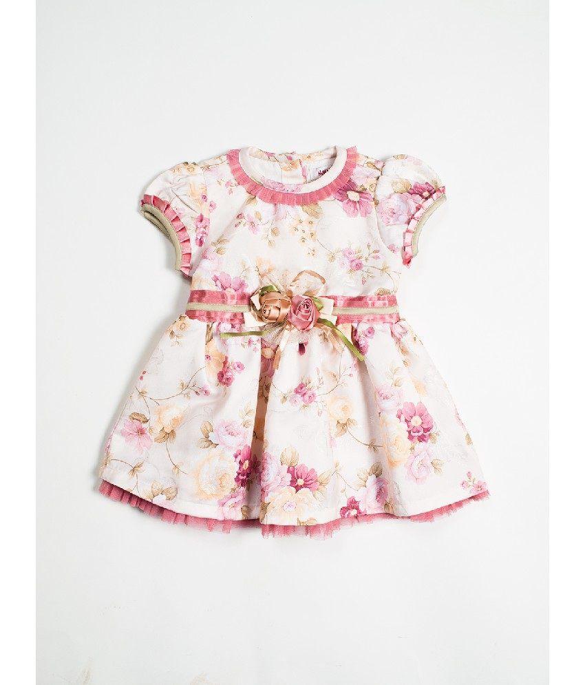 Nauti Nati Ecru & Printed Color Dress For Kids